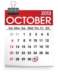 October 2013 Calendar Month Date Concept