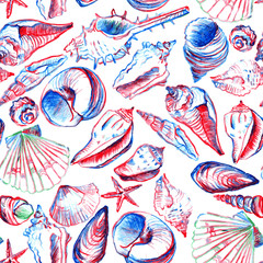 seamless pattern with line drawing shells