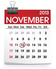 November Calendar Day Month Year Concept