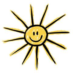 Die Sonne lacht!, süße Kinderzeichnung, gelb, schwarz, Vektor