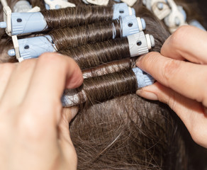 locks of hair in a beauty salon