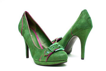 Green and Pink High Heels on a White Background