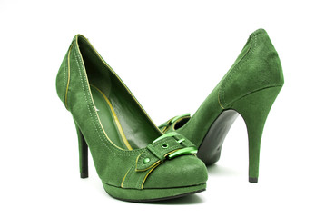 Green and Yellow High Heels on a White Background