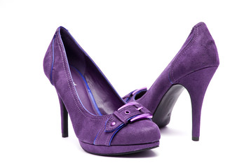 Purple High Heels on a White Background