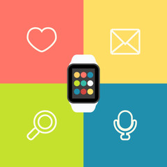 Smart Watch Vector Flat Illustration with apps icons