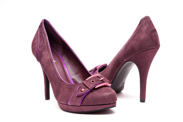 Purple 7High Heels on a White Background
