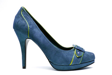 Blue and Yellow High Heels on a White Background