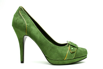 Green High Heels on a White Background