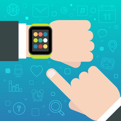 Smart Watch concept with mobile apps icons. Vector illustration