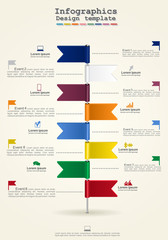 Timeline infographics with icons. Vector