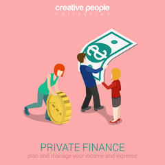 Private finance flat 3d web isometric infographic concept vector