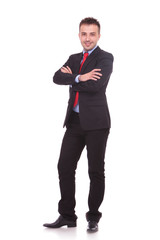business man standing on white studio background