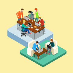 Coworking flat 3d web isometric infographic concept vector