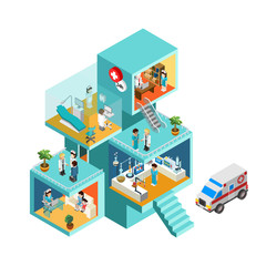 Hospital building with people flat 3d web isometric concept