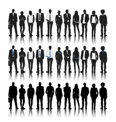 Silhouettes of Business People in a Row Vector Concept