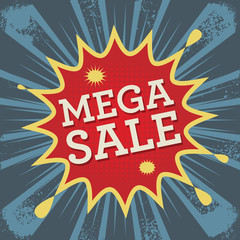 Comic explosion with text Mega Sale, vector