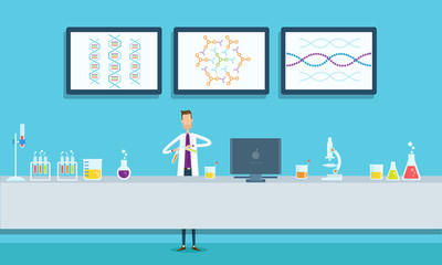 scientists research in laboratory lab concept