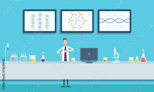 Fototapeta scientists research in laboratory lab concept