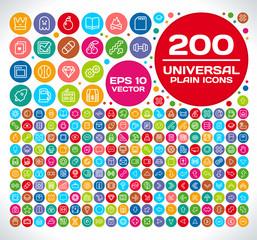 200 Universal Plain Icon Set 2