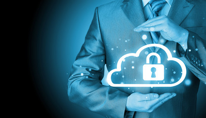Protect cloud information data concept. Security and safety of