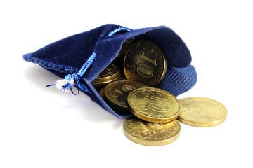 Blue velvet bag Russian rubles