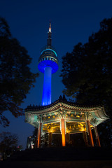 N Seoul tower with pavilion in Namsan Seoul South Korea