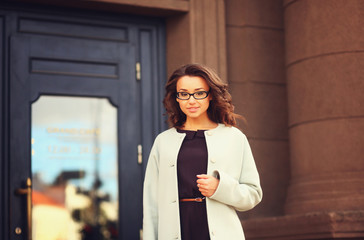 portrait beautiful business woman in city