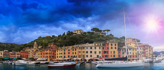 Portofino, Italy - panorama, filtered