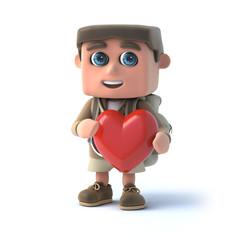 3d Hiker kid hugs a heart