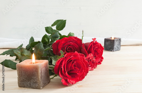 canvas print picture Red roses for Valentine's Day