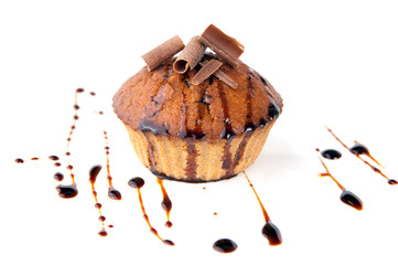 muffins in chocolate on a white background