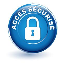 accès sécurisé sur bouton bleu