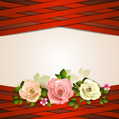 Background with red strips and roses