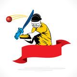 cricket play hit ball banner design vector