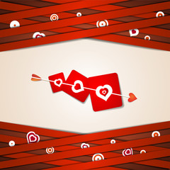 Valentine's day card with hearts and arrow