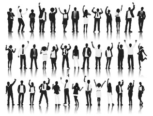 Silhouette Group People Standing Celebration Concept