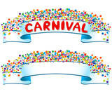 Banner with confetti and carnival word