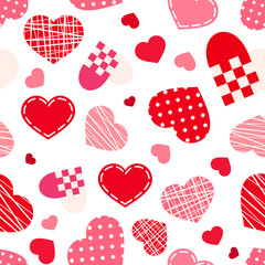 Seamless pattern with Valentine's day hearts. Vector.