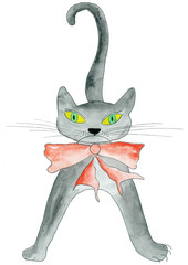 Katze mit Schleife
