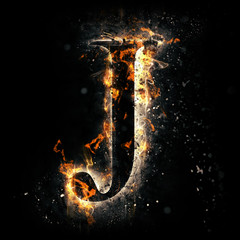Fire alphabet. Letter J.