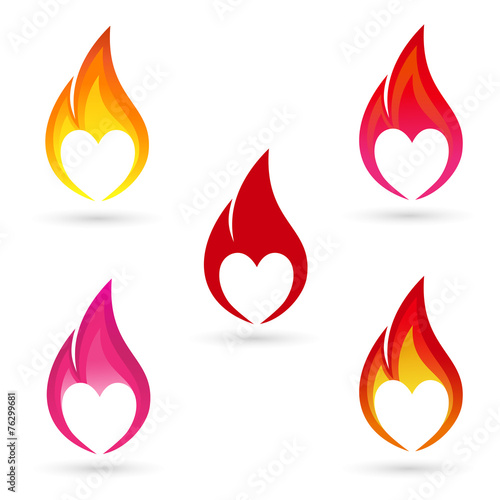 Icons of fire with heart silhouette - 76299681