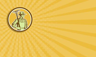 Business card Organic Farmer Rake Woodcut Retro