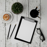 mock up clipboard with interior background, 3D render