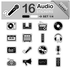Audio, Icons, Sticker, Set, Symbole, Zeichen, Web, Musik, Sound