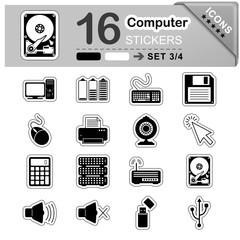 Computer, Icon, Sticker, Set, Symbole, Zeichen, Web, Internet