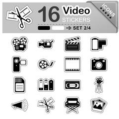 Video, Icon, Sticker, Set, Symbol, Zeichen, Multimedia, schwarz
