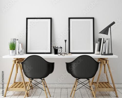 Poster frames template, workspace mock up, background - 76300239
