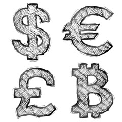 Hand drawn money symbols with hatching. Sketch of currency signs