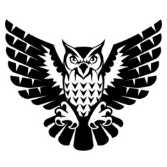 Owl with open wings and claws. Black and white tattoo eagle owl