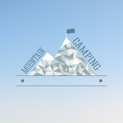 Badge and label logo graphic. Mountain Camp and travel logo